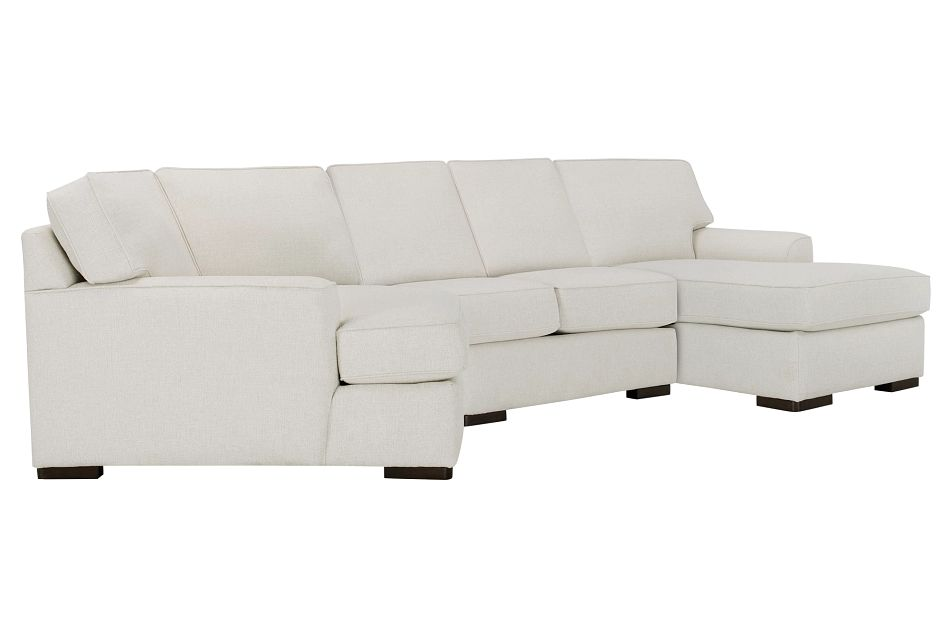 Austin White Fabric Right Facing Chaise Cuddler Sectional