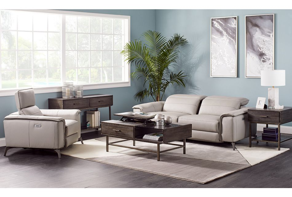 Pearson Gray Leather Power Reclining Sofa