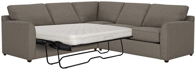 Asheville Brown Fabric Two-arm Left Innerspring Sleeper Sectional (0)
