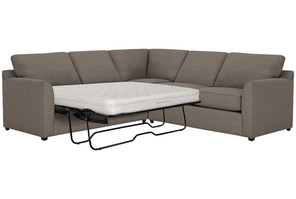 Asheville Brown Fabric Two-arm Left Innerspring Sleeper Sectional