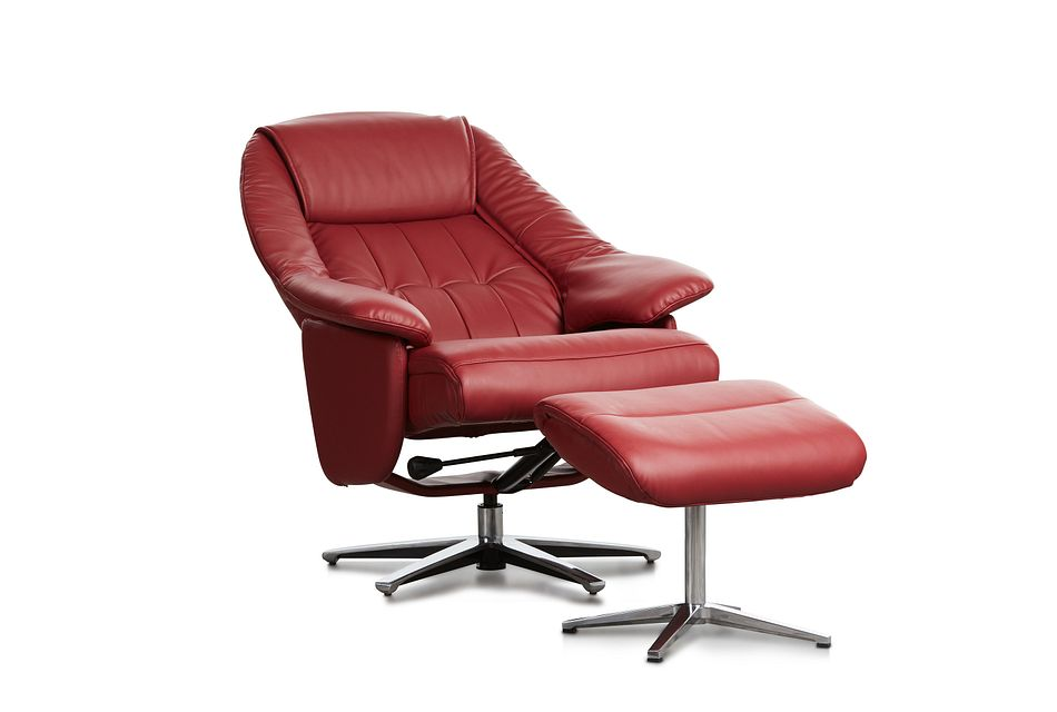 Jones Red Micro Recliner & Ottoman