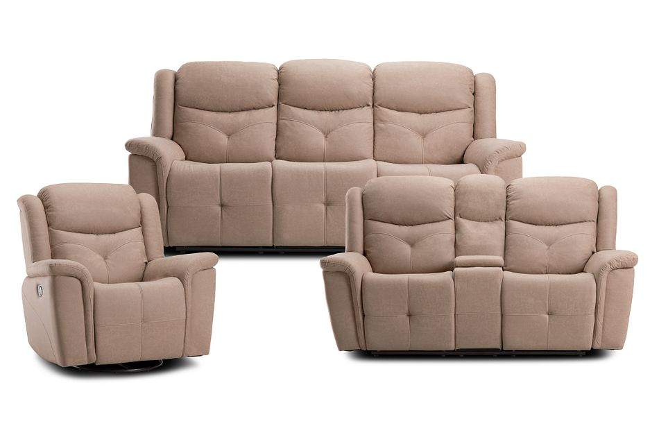 Calvin Taupe Micro Manually Reclining Living Room
