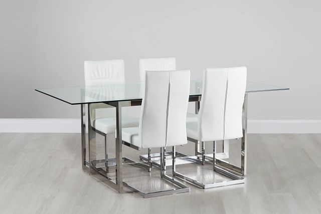 Bronx Glass White Table & 4 Upholstered Chairs (0)