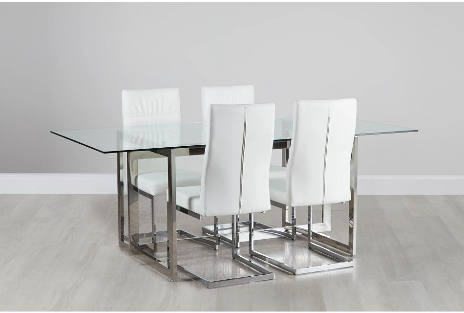 Bronx Glass White Table & 4 Upholstered Chairs