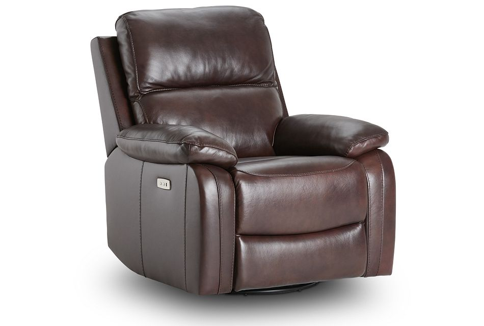 Mason Brown Leather Power Swivel Glider Recliner