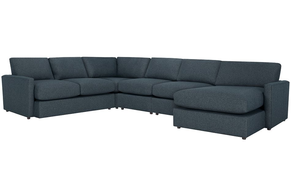 Noah Dark Blue Fabric Large Right Chaise Sectional