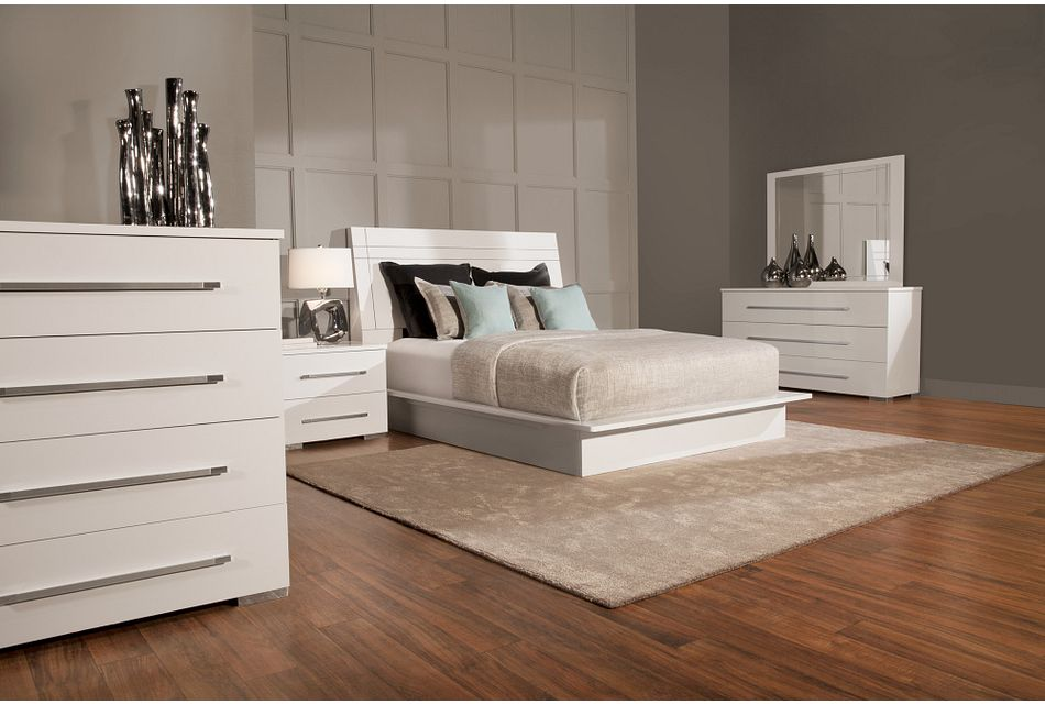 Dimora White Wood Platform Bedroom