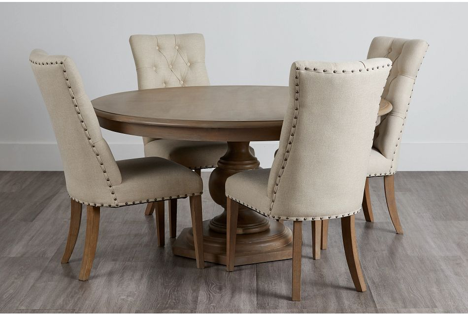 Haddie Light Tone Round Table & 4 Upholstered Chairs,  (0)