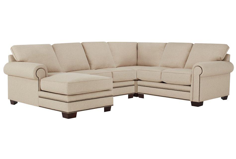 Foster Khaki Fabric Medium Left Chaise Sectional