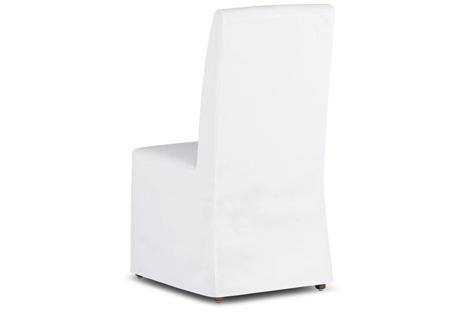 Harbor White Long Slipcover Chair With Light Tone Leg
