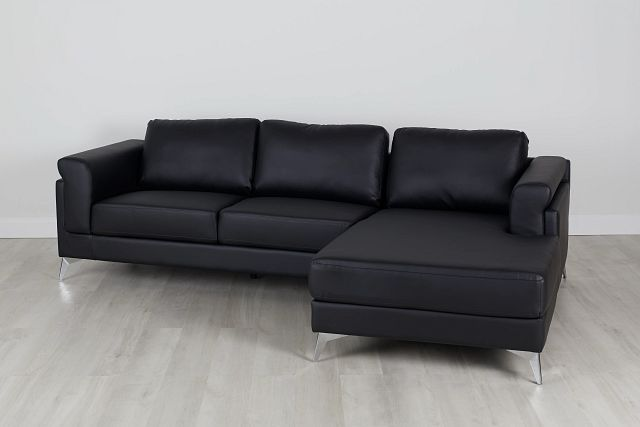 Gianna Black Micro Right Chaise Sectional (0)
