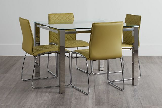 Skyline Light Green Square Table & 4 Metal Chairs (0)