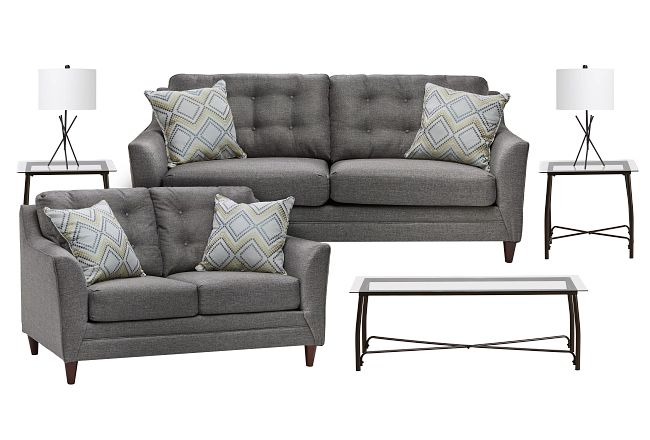 Jensen Dark Gray Fabric 7-piece Living Room Package