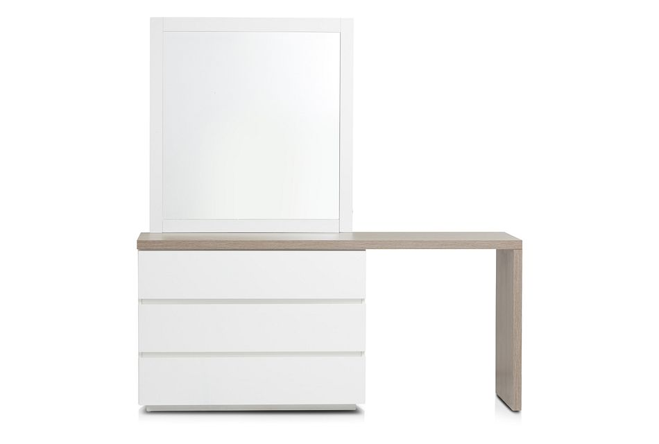 Pesaro Two-tone Dresser With Extension & Mirror