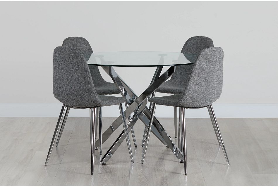 Havana Chrome Dk Gray Round Table & 4 Upholstered Chairs