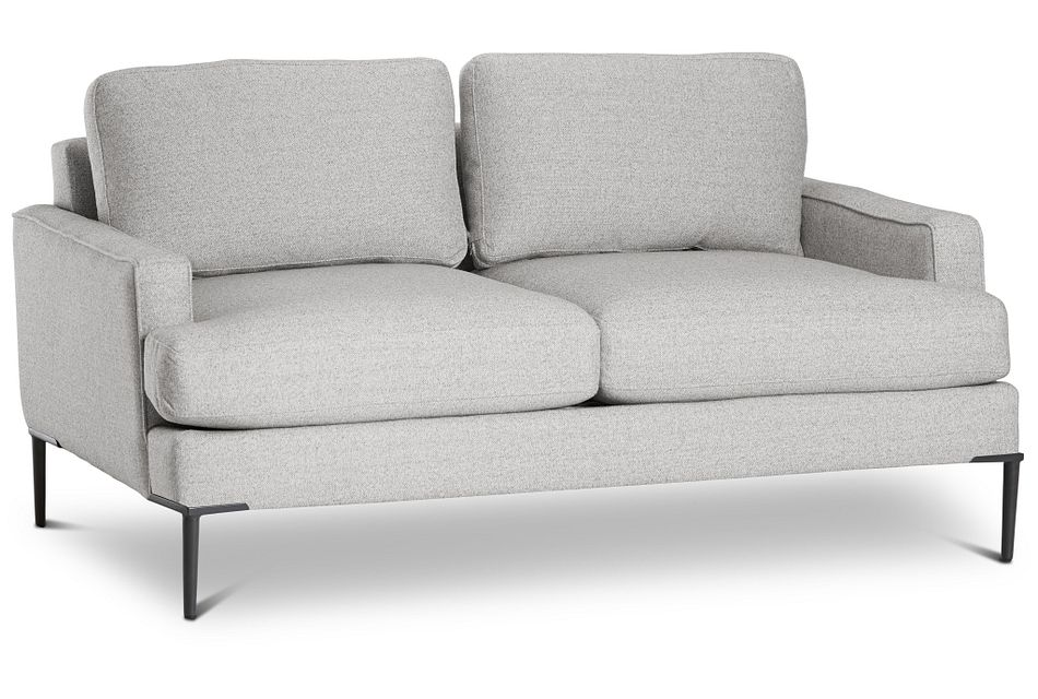 Morgan Light Gray Fabric Loveseat With Metal Legs