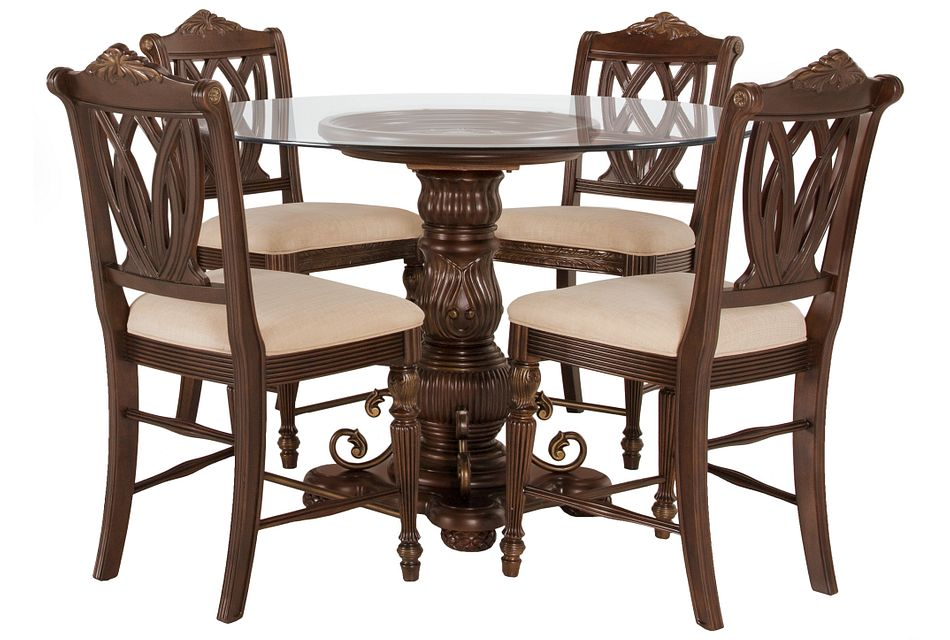 Tradewinds DARK TONE GLASS High Table & 4 Wood Barstools
