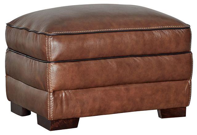 Alexander Medium Brown Leather Ottoman (0)