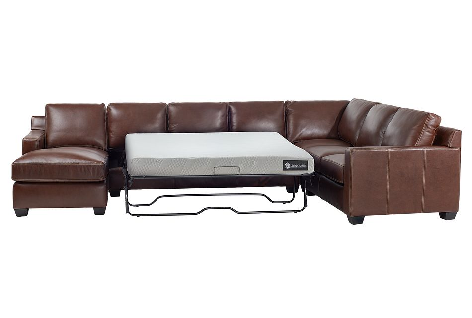 Carson Medium Brown Leather Medium Left Chaise Memory Foam Sleeper Sectional