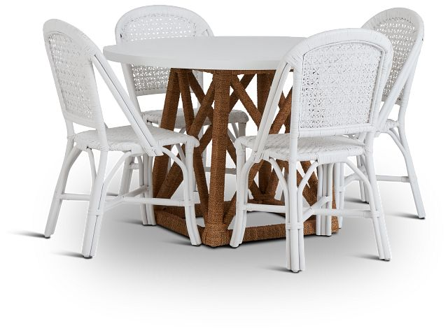 Greenwich Two-tone Round Table & 4 White Rattan Chairs (2)