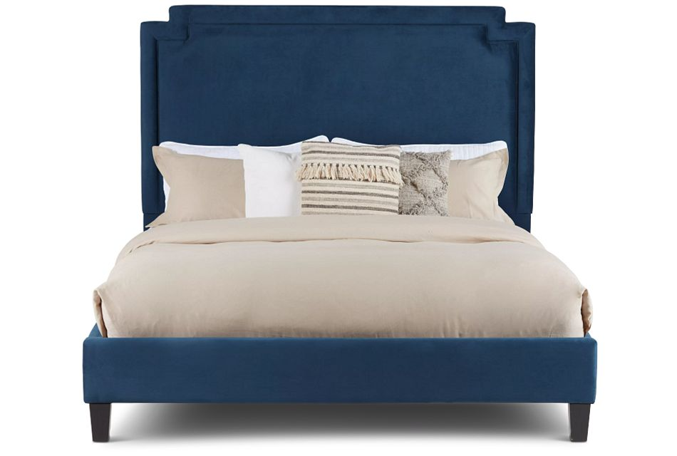 Whitney Dark Blue Uph Platform Bed