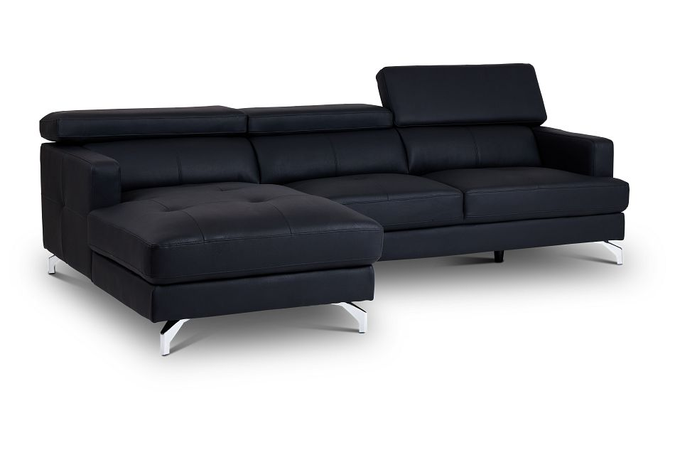 Marquez Black Micro Left Chaise Sectional,  (3)