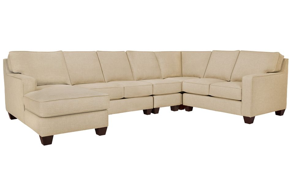 York Beige Fabric Large Left Chaise Sectional