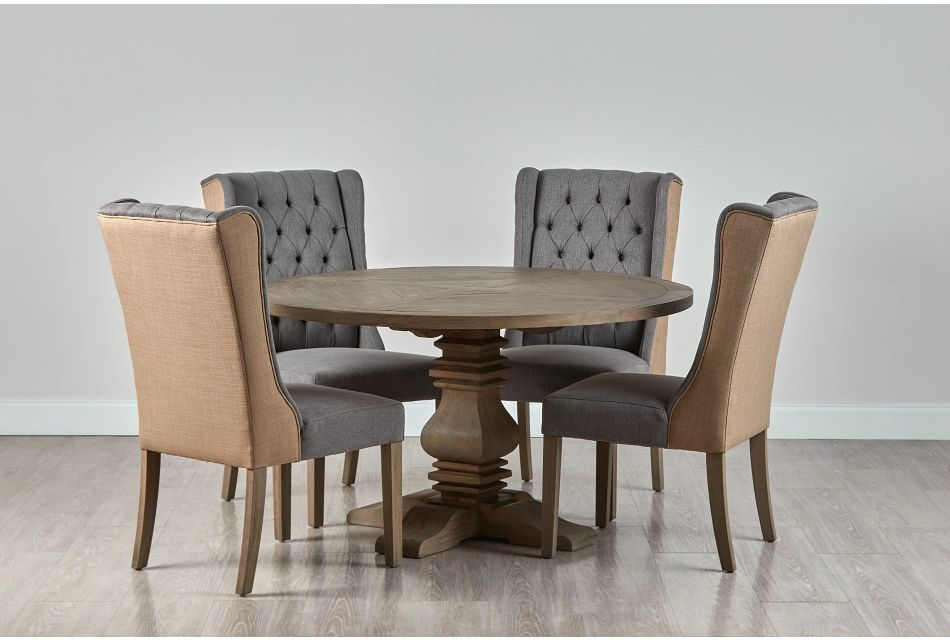 """Hadlow Gray 54"""" Table & 4 Tufted Chairs"""