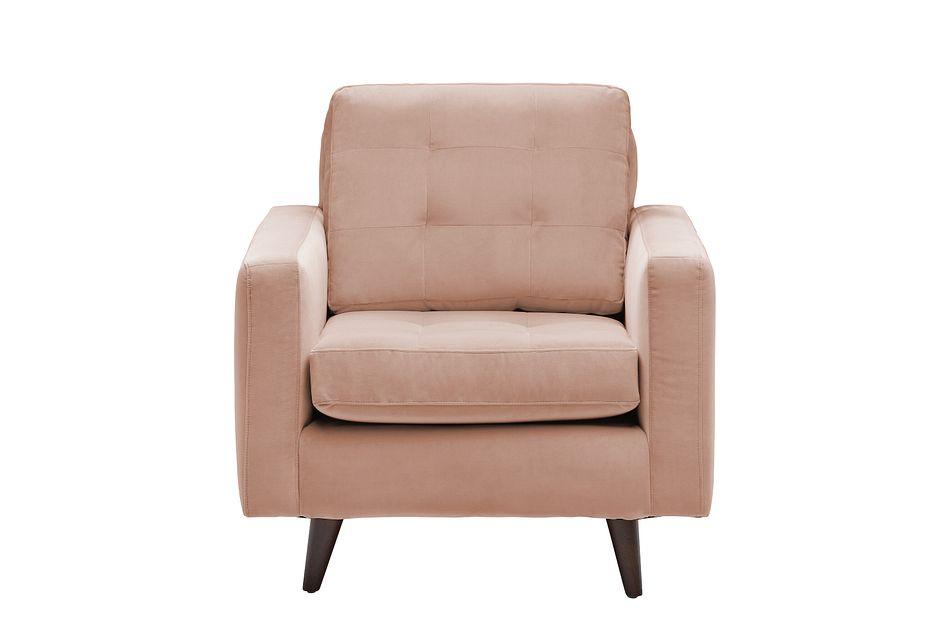 Mila Light Pink  Velvet Chair,  (1)