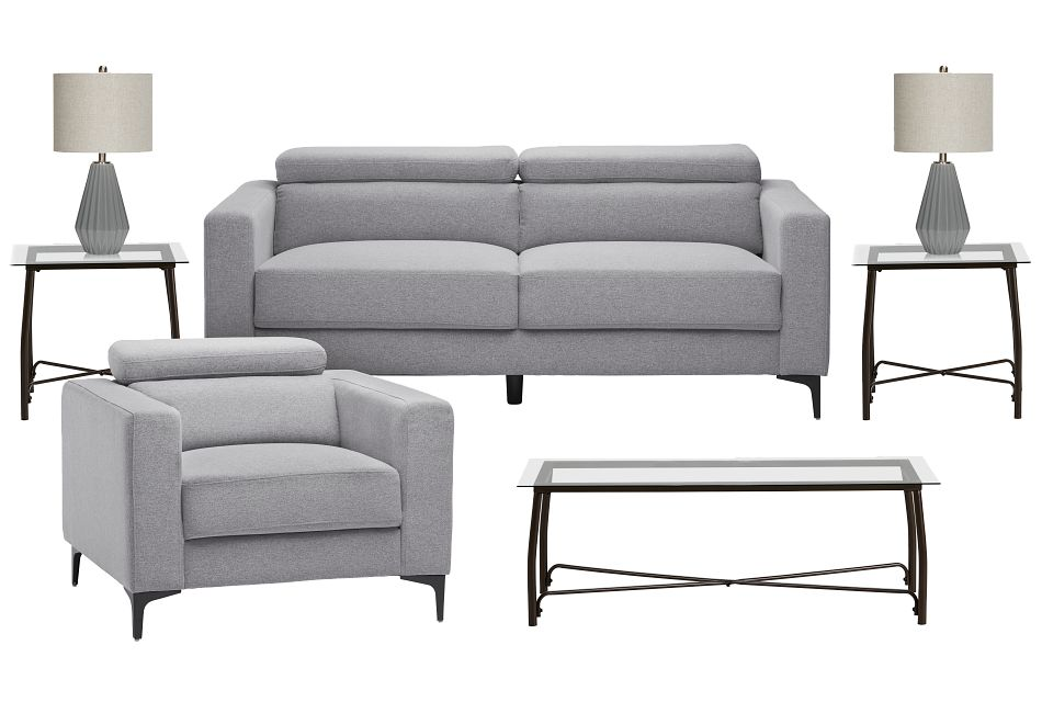 Trenton Light Gray Fabric 7-Piece Living Room Package,