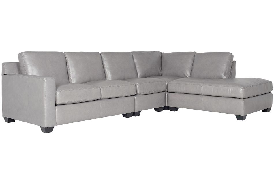 Carson Gray Leather Sectional