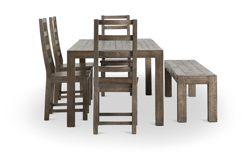 Seattle Gray Rect Table, 4 Chairs & Bench,  (3)
