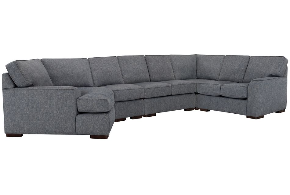 Austin BLUE FABRIC Large Left Cuddler Sectional