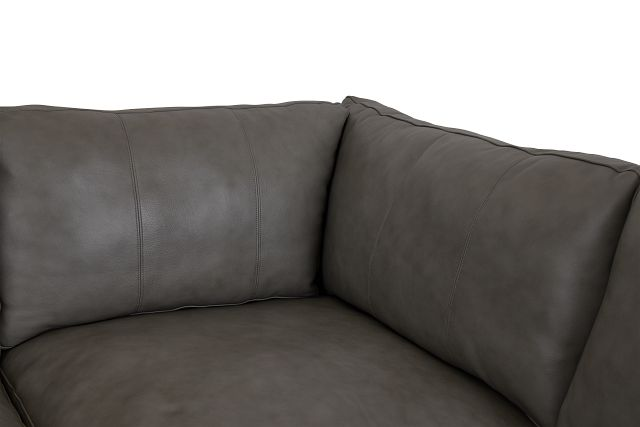 Dawkins Gray Leather Medium Left Chaise Sectional