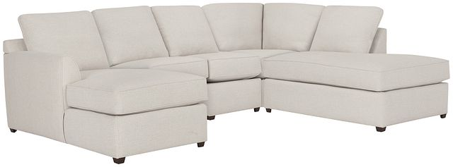 Asheville Light Taupe Fabric Small Right Bumper Sectional (0)