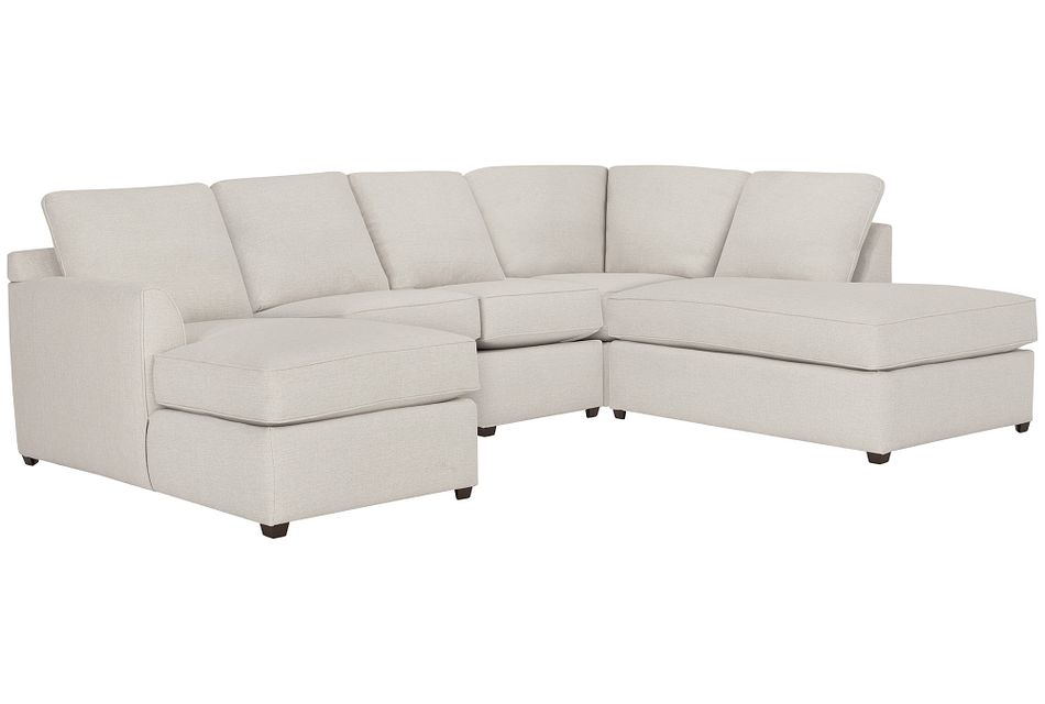 Asheville Light Taupe Fabric Small Right Bumper Sectional