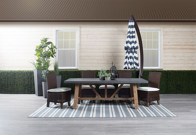 Cayman Dark Blue Stripe Cantilever Umbrella Set (1)