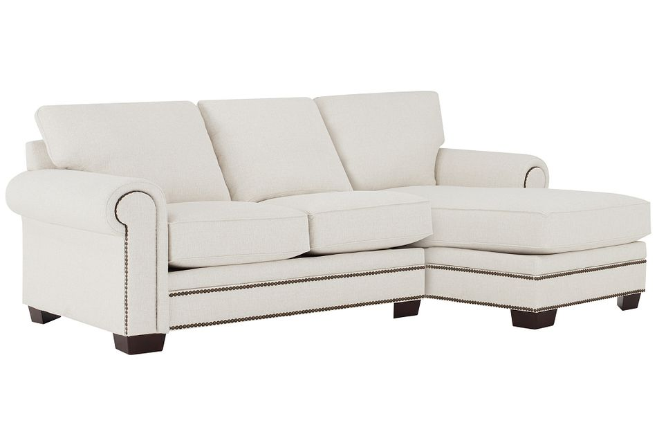 Foster White Fabric Right Chaise Sectional