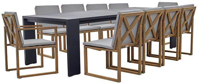 "Linear Dark Gray 110"" Aluminum Table & 4 Teak Cushioned Side Chairs (0)"