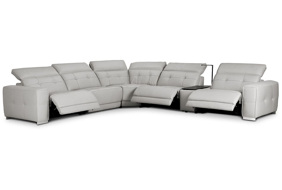 Reva Gray Leather Medium Triple Power 2-arm Sectional