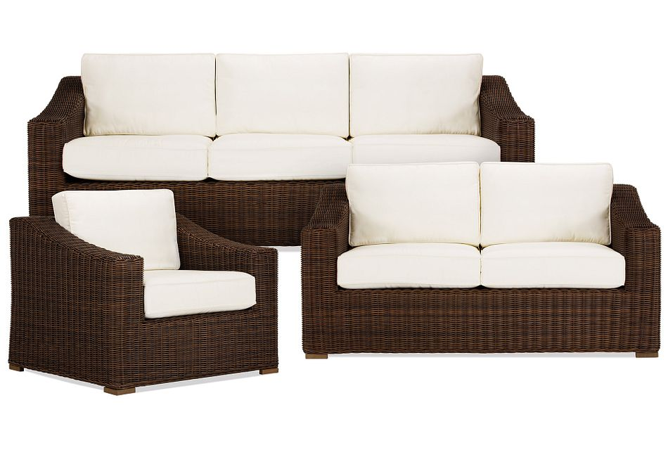 Canyon Dark Brown White Outdoor Living Room Set