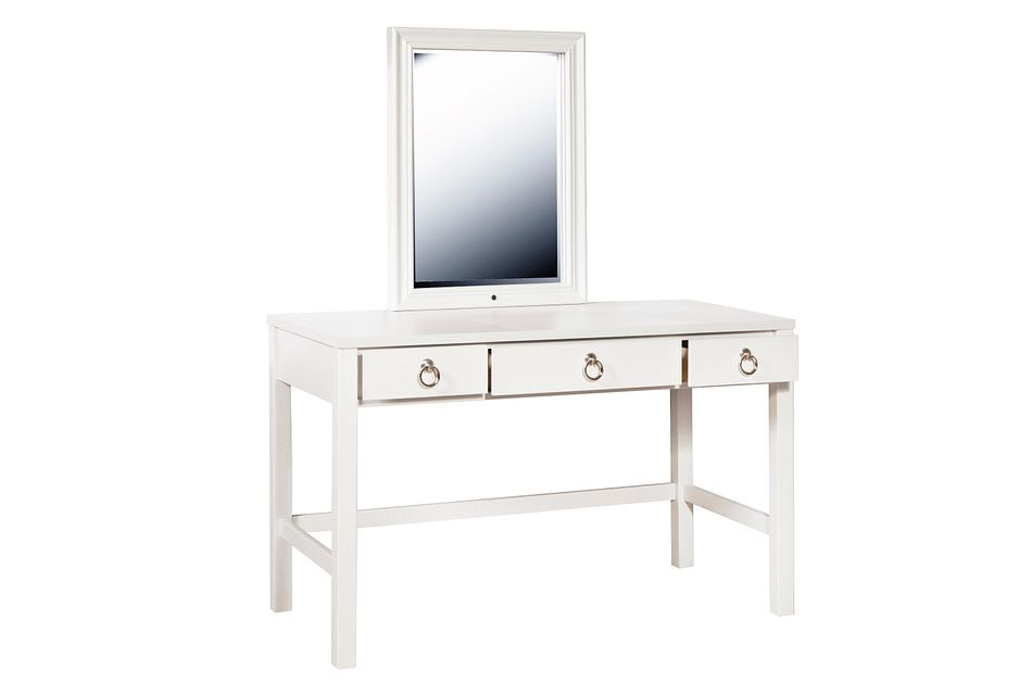 Isabella White Vanity & Mirror With Stool