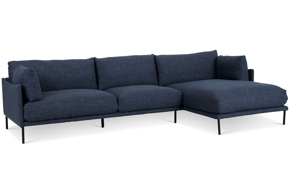 Oliver Dark Blue Fabric Right Chaise Sectional,  (1)