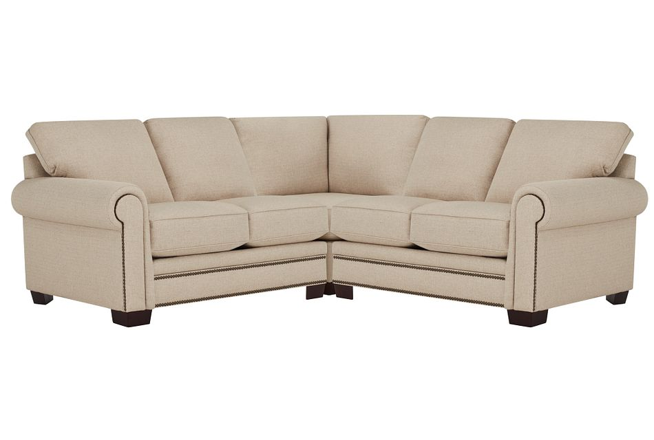 Foster Khaki Fabric Small Two-arm Sectional