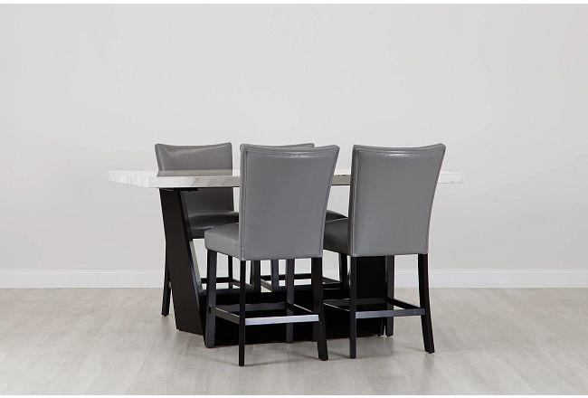 Auburn White High Table & 4 Gray Upholstered Barstools