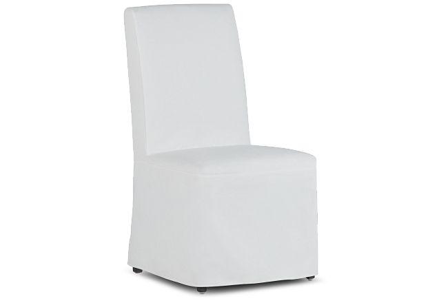 Destination White Long Slipcover Chair With Medium-tone Leg