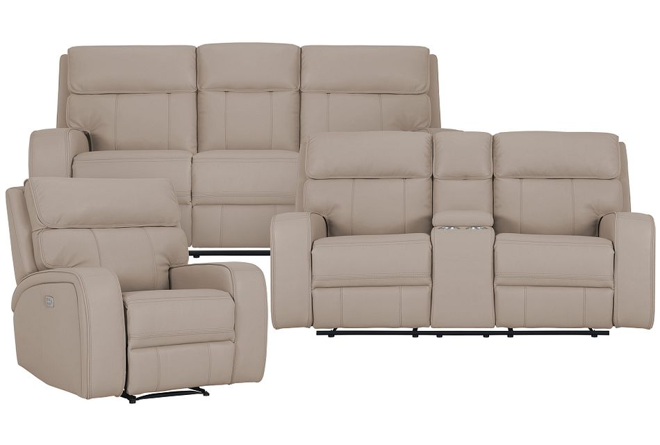 Rhett Taupe Micro Power Reclining Living Room