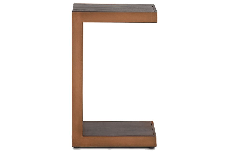 Amber Bronze Wood Chairside Table