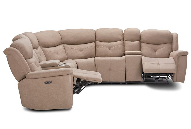 Calvin Taupe Micro Large Dual Power Reclining Two-arm Sectional