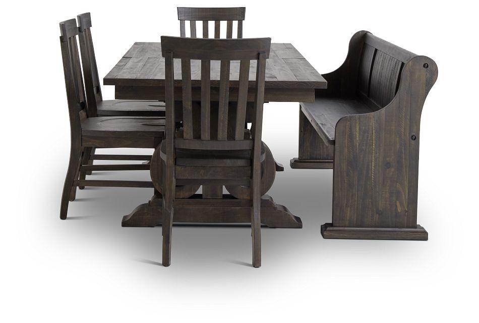 Sonoma Dark Tone Trestle Table, 4 Chairs & Bench,  (2)